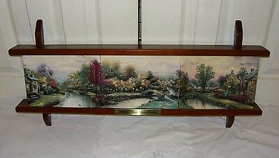 Thomas Kinkade (3) Collector Plates Set w/ Display Shelf - LAMPLIGHT VILLAGE