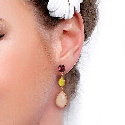 Rose Chalcedony 18K Gold Plated 925 Sterling Silver Dangle Earrings Jewelry