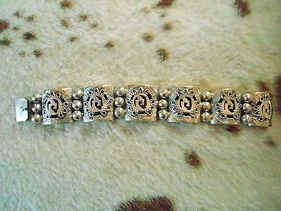Vintage Heavy Taxco Mexican Silver Link Bracelet