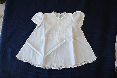 Alfred Leon Baby Dress 1950s Handmade Off-White Embroidered Cotton 1 Yr Size