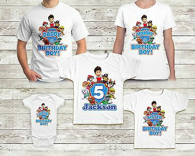 Paw Patrol Birthday Tshirt Custom Name and Age Party Kid Shirt Family Matching
