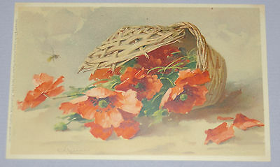 Antique Signed Catherine Klein Postcard ~1910 Flowers In Basket Meissner & Buch