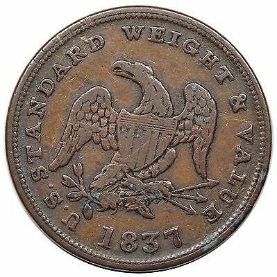 1837 Half Cent Hard Times Token, Low 49, HT-73, nice F-VF