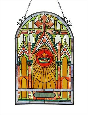 """Mission Church Stained Glass Window Panel 20"""" W x 32"""" T 417 Pieces Of Cut Glass"""