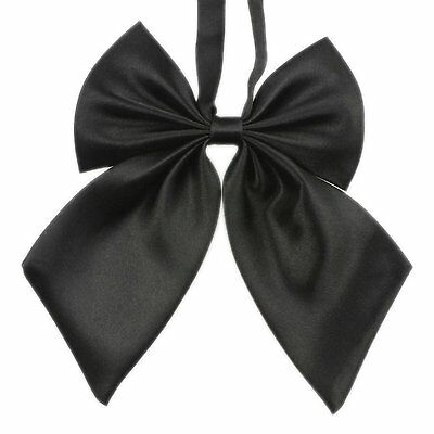 TopTie Women Pre-Tied Bow Ties Solid Color Bowknot Neckwear BLACK
