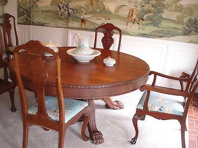 Victorian Antique North Wind Dinning Room Table Chairs And Large Curio Cabinet