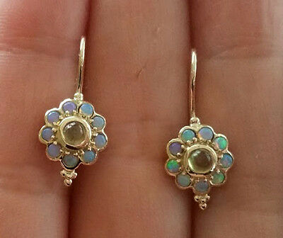 Genuine 9K Solid Yellow Gold NATURAL Peridot & Opal Blossom Drop Earrings
