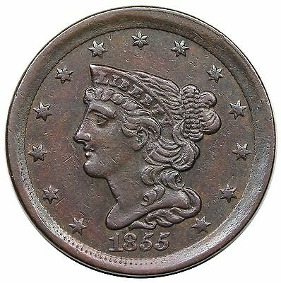1855 Braided Hair Half Cent, C-1, XF-AU
