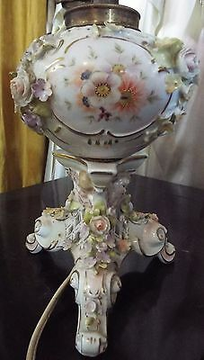 antique Meissen Raised Flowers Angels Electric Table Lamp