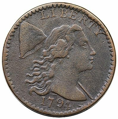 "1794 Liberty Cap Large Cent, Head of '94, S-63, R.3, ""Fallen 4"", VF+ detail"