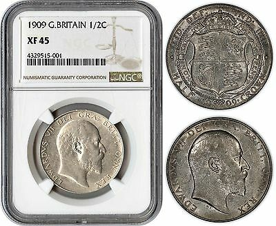 Great Britain Half Crown 1909 (Ngc Xf45) *rare Date & Exceptional Quality*
