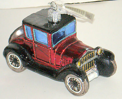 MODEL T COUPE Old World Christmas Blown Glass Ornament New In Box $19