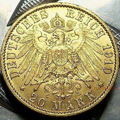German/Prussia 20 mark coin-GOLD-1910A-IMPERIAL EAGLE-WILHELM II-Germany-KM521