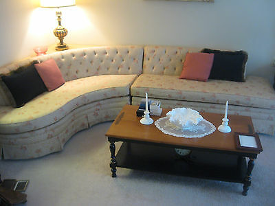 VINTAGE MID CENTURY 2pc SECTIONAL SOFA WITH ATOMIC AGE BLONDE TABLE circa 1955