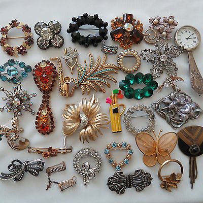 Vintage Fashion 31 PC Rhinestone Crystal Enamel  Jewelry Brooch Lot Signed