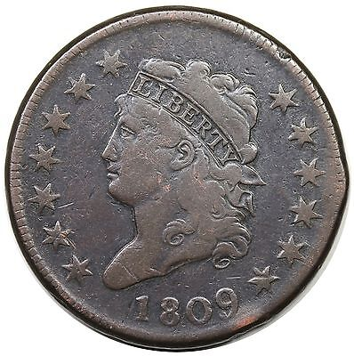 1809 Classic Head Large Cent, scarce date, S-280, VF detail