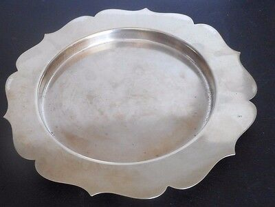 "Vintage SILVER PLATED circa 1920 Charger/Plate 10"" Diameter 1/2"" Deep"