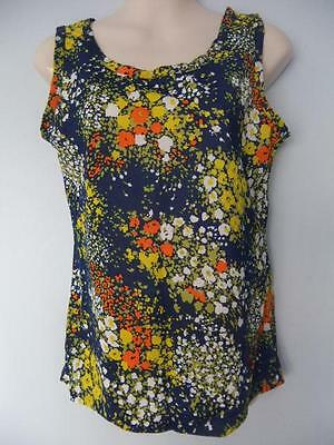 Womens Vintage Tank Top Shirt Floral Lady Gloria Nylon Flowers Hippy 70S Nwot