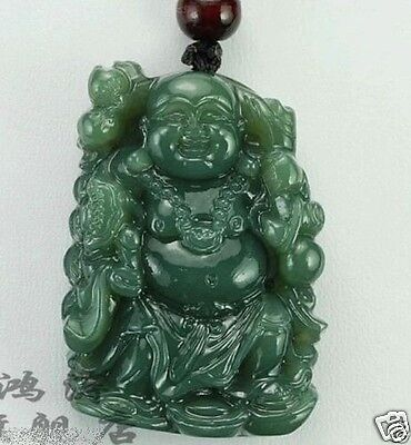100% Natural Fine Hand-carved Chinese Hetian Green Jade Buddha Pendant