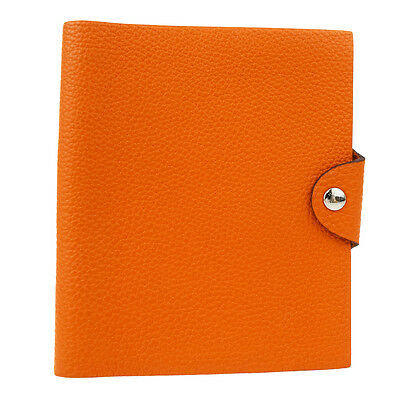 Auth HERMES Agenda Ulysse Day Planner Note Cover Leather Orange France 05Y679