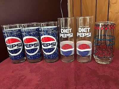 Lot Of 6 Collectible Pepsi ~ Cola Glasses ~ Vintage ~ Never Been Used ~