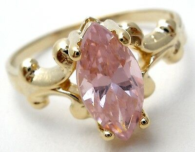 10K Yellow Gold Pink Ice Ring Size 3.5 Pinky Midi Childs Cubic Zirconia Vintage