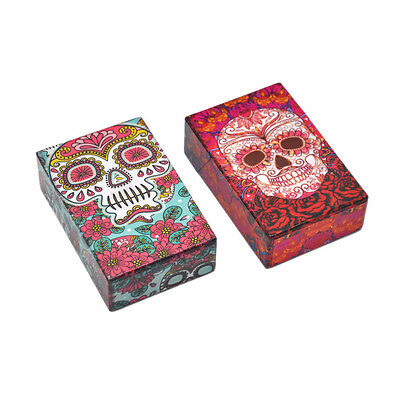1 X Sugar Skull Plastic Cigarette Box Holder Pocket Tobacco Storage Hard Case