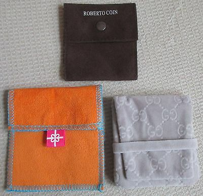 3 Jewelry Pouch Lot Gray Gucci Brown Roberto Coin & Orange & Blue JCPenney