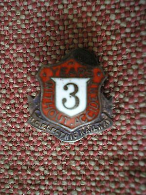 Vintage BC Electric Railway 3 Years without Accident Sterling Silver Lapel Badge