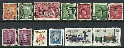 Weeda Canada Used lot with 'CNR' perfins in various positions