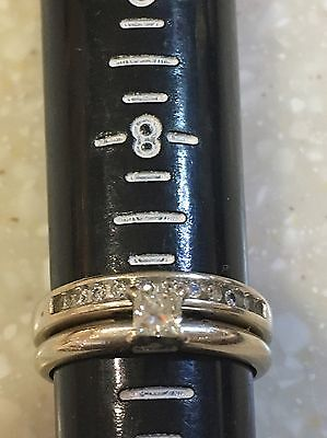 14k white Gold 025 ct Diamond Engagement Ring Princess & round Wedding Band Set
