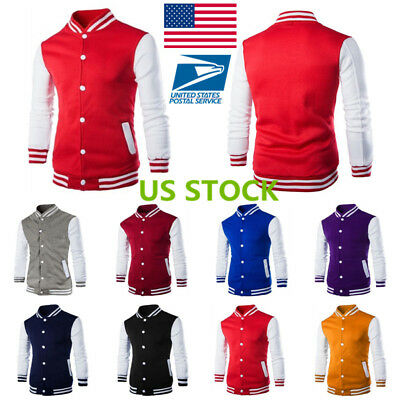 US Men Boys Varsity Baseball Long Sleeve Button Stand Collar Coat Outfits Jacket