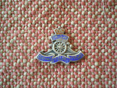 WW2 Royal Canadian Artillery Miniature Enameled Sterling Silver Badge Overlay