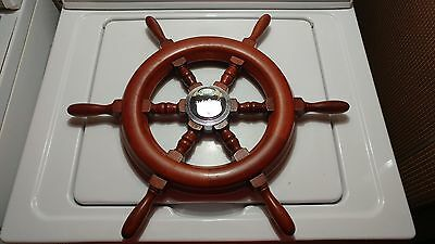 Old Antique Vintage Ride Guide Mercury Outboard Wood Ship Boat Steering Wheel