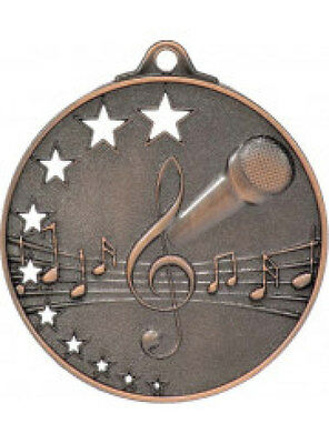 Microphone / Singing /  Karaoke Medal Bronze 50mm With Neck Ribbon Engraved FREE