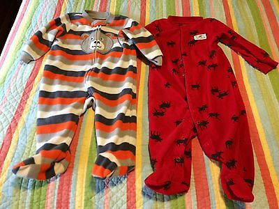 🐻 Carter's Boys Size 9 Month Infant Sleeper Footed Pajama Lot Moose Bear