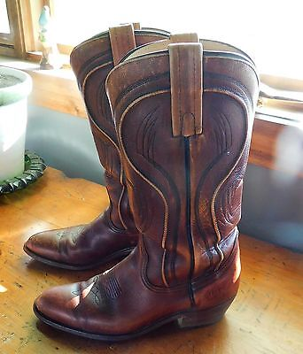 Mens FRYE Sz 8.5 D Brown Leather Distressed Cowboy Western Boots