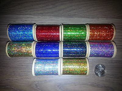 """10 Spools Holographic Tinsel Fly Tying 1/32"""" Width 3000 Per Spool 10 Spools"""