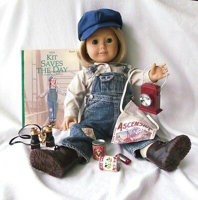 American Girl Kit DOLL + HOBO OUTFIT & CAMP SUPPLIES + Work BOOTS Saves Day BOOK