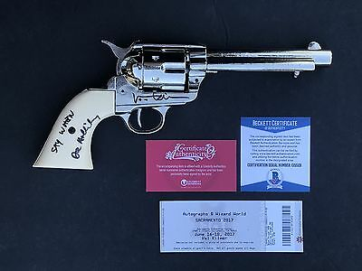 SAY WHEN! Val Kilmer TOMBSTONE Signed Nickel 1873 Quick Draw Replica Pistol BAS