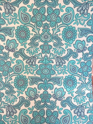 FLOWER POWER  BLUE     Wallpaper      1 Metre       RETRO VINTAGE