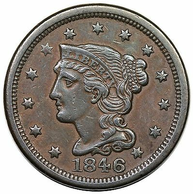 1846 Braided Hair Large Cent, Small Date, N-18, nice XF+