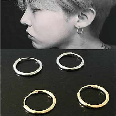 Silver Gold Plated Small Endless Hoop Ear Stud Earrings Round Jewelry 12mm