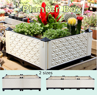 Raised Plastic Garden Bed Grow Vegetable Flower Herbs Pot Tray Outdoor Indoor