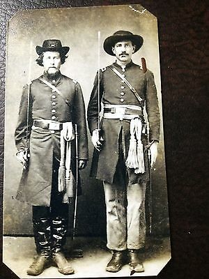 civil war Military 2 Soldier With Swords And Rifles tintype C693RP