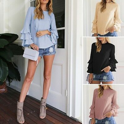 Women Blouse Shirts Autumn O-Neck Flounce Long Sleeve Solid Casual Loose Tops