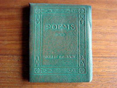 Antique Little Leather Library Miniature Book ~ Poems ~ Robert Browning ~ RARE!!