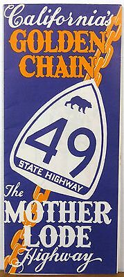 1950's Mother Lode Highway 49 California vintage illustrated travel map guide b