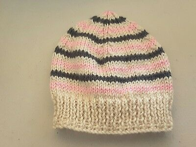 Newborn beanie/hat  - Hand Knitted - Cream with Pink and Grey Stripes