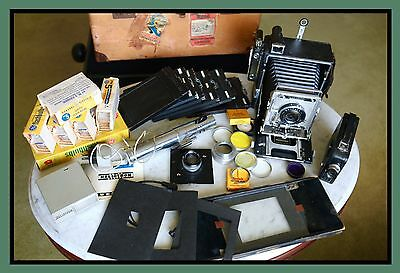 Graflex Crown Graphic 4x5 Camera, Film Holders, Bulbs, Filters, Case & More!!!